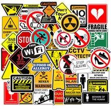 50 pièces autocollants d'avertissement Danger interdiction signes rappel autocollant autocollant étanche à bricolage ordinateur portable moto bagages téléphone Snowboard