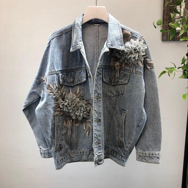 Automne 3D Appliques Demin veste femmes vêtements hauts à manches longues vêtements vintage simple boutonnage jean manteau