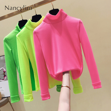 Turtleneck Undershirt T-shirt Woman Spring Autumn New Long Sleeve T-shirts Body Shirts Femme All-match Basic Tops Student
