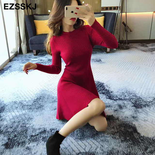 smooth sexy mid thigh long sleeve dress 3