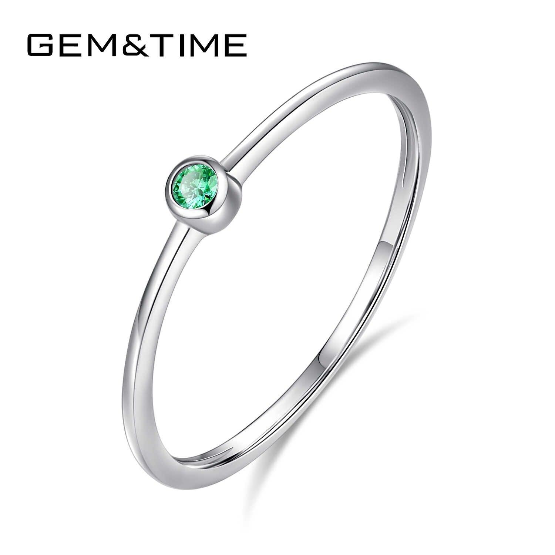 Gem & Tijd Real Sterling Zilver 925 Ring Green Topaz Voor Vrouwen Dunne Cirkel Edelsteen Promis Ringen Zilver 925 Sieraden anillos Mujer