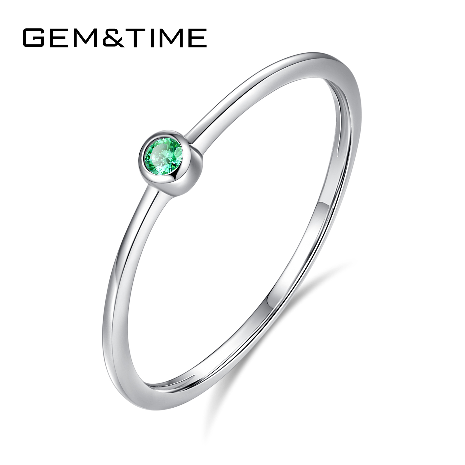 Gem&Time Real Sterling Silver 925 Ring Green Topaz For Women Thin Circle Gemstone Promis Rings Silver 925 Jewelry Anillos Mujer