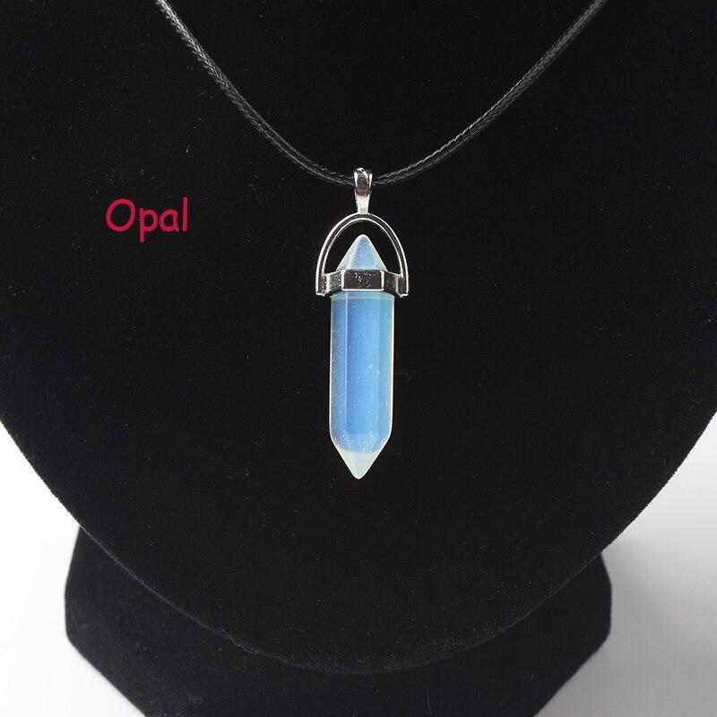 LanLi, шестиугольная колонна, ожерелье с натуральным кристаллом, подвеска с камнем, кожаные цепи, ожерелье для женщин, модное ювелирное изделие - Окраска металла: dan bai