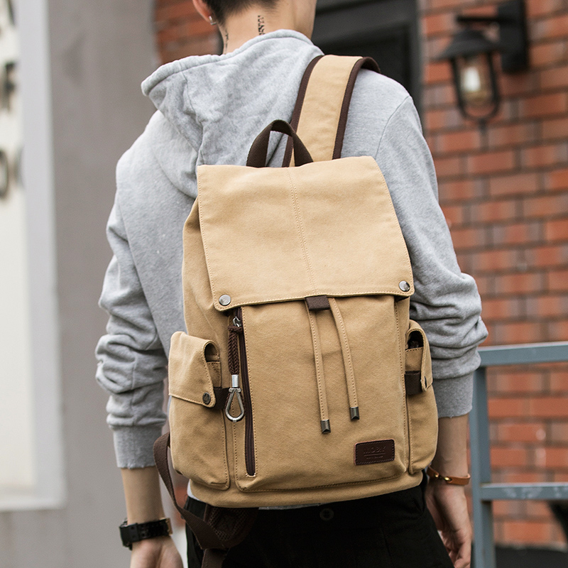 MOYYI Canvas Men's Trend Backpack Large Capacity Middle School Student Backpack Leisure Travel Backpack Computer Bag Men's Bag