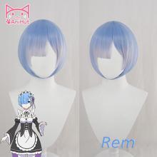 Парик REM из аниме «Re:Zero начало жизни в другом мире», термостойкий синтетический синий парик REM для косплея