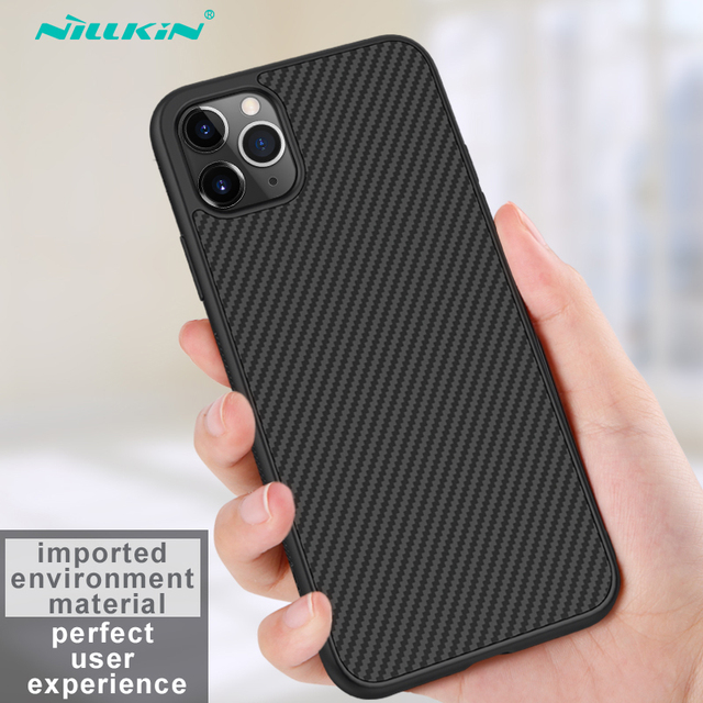 Capa para iphone 12 mini 11 pro max xr x xs max iphone11 embalagem nillkin fibra sintética de carbono plástico capa para iphone 11 caso