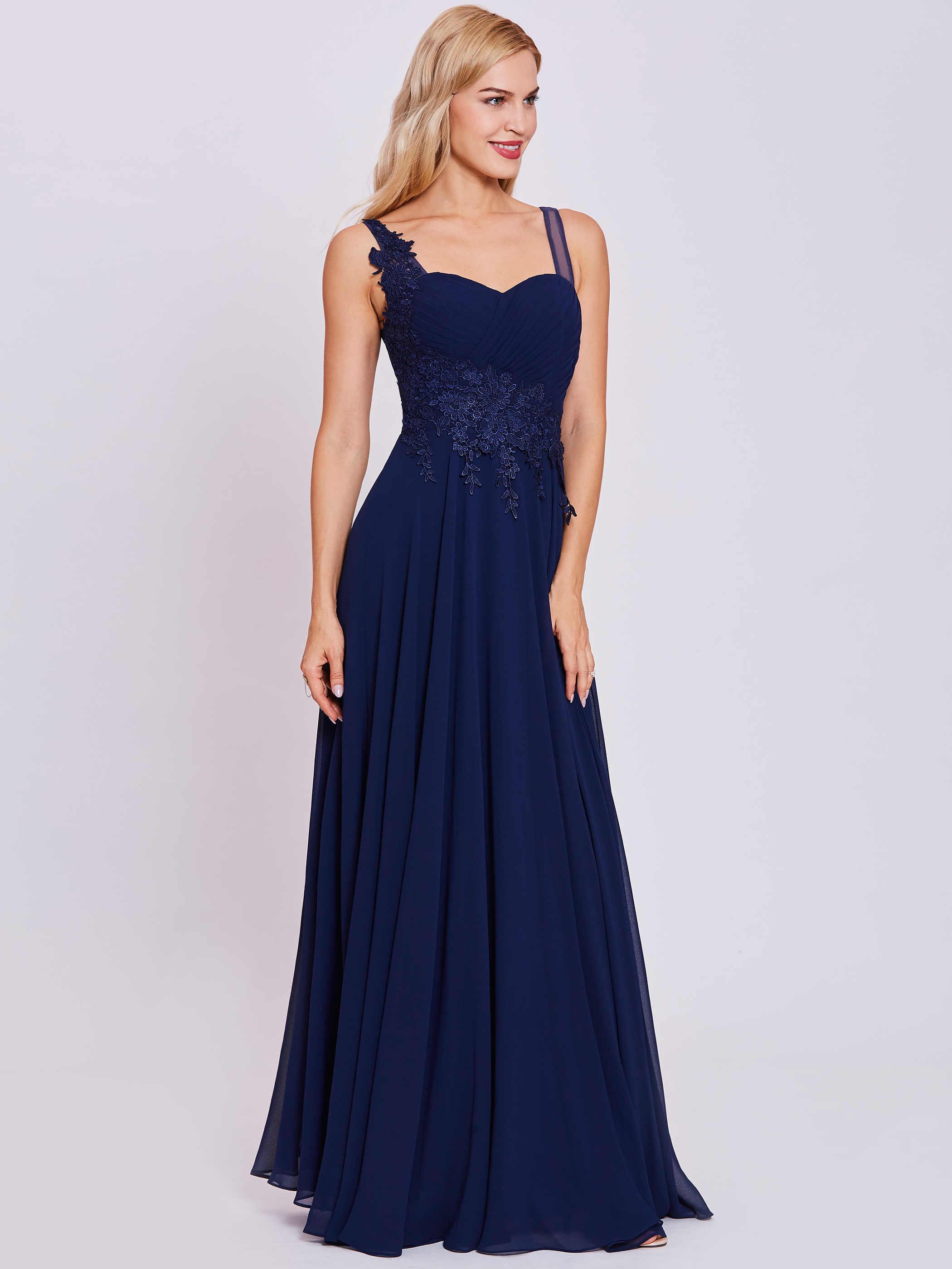 Dressv الأشرطة مساء اللباس الأزرق الملكي الداكن بلا أكمام طول الكلمة خط ثوب رخيصة المرأة يزين فستان سهرة طويل رسمي