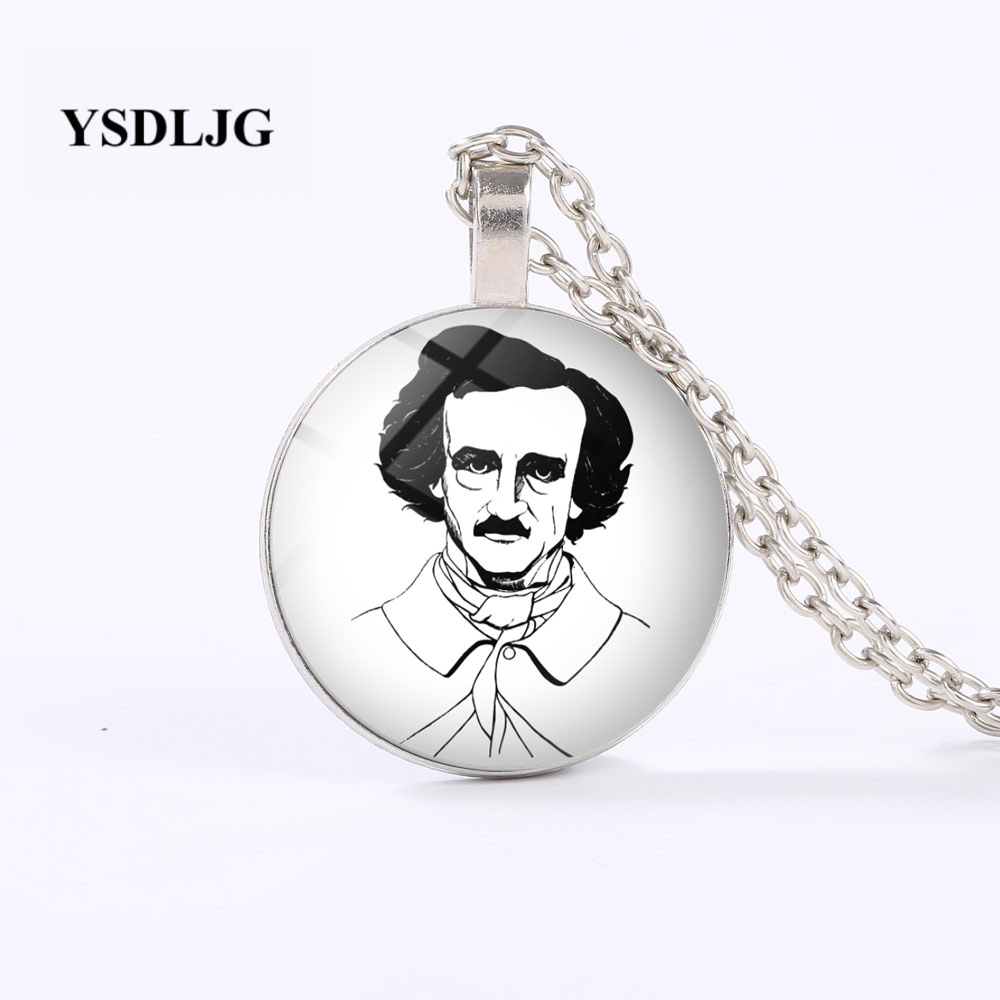 YSDLJG Edgar Allan Poe Portrait Necklace Horror Fiction American Literature Author Gift Stainless Steel Jewelry Harajuku Pendant image