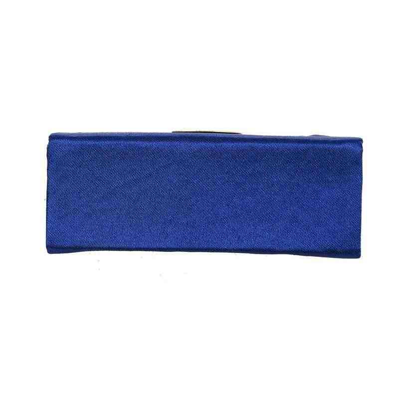 ליידי פרחוני רקמת מירור ליפ גלוס שפתיים מקל מקרה תכשיטי תיבת שפתון מחזיק כהה כחול