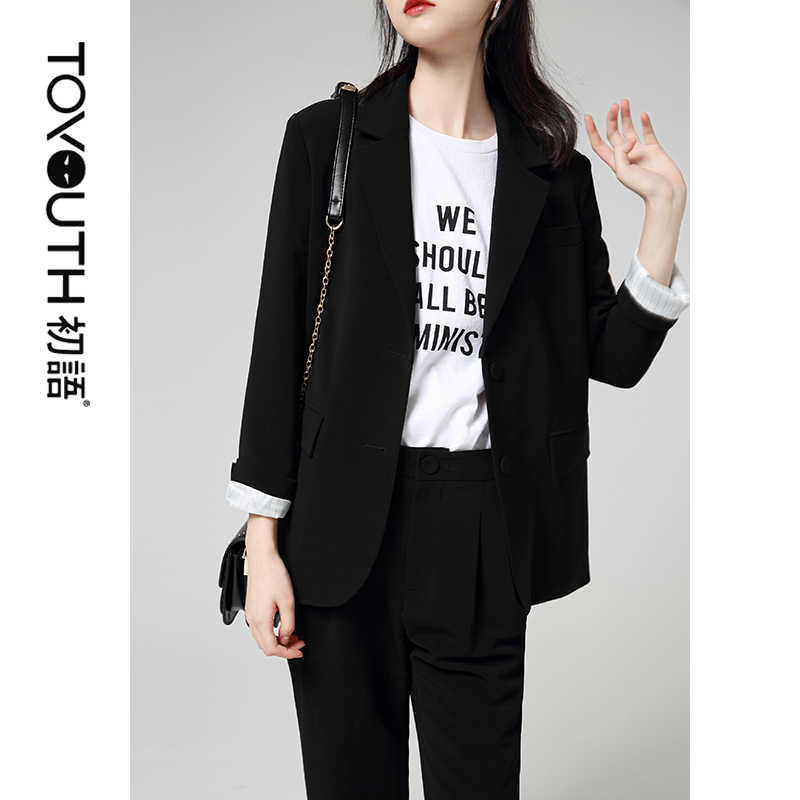 Toyouth Wanita Workwear Single Breasted Blazer Solid Lengan Panjang Blazer OL Gaya Lebih Tahan Dr Mantel