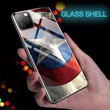 Funda de teléfono de vidrio capitán Marvel Iron Man Capitán América para iPhone 11 Pro Max XSmax XR XS X 10 8 7 6s 6 Plus funda de Batman(China)