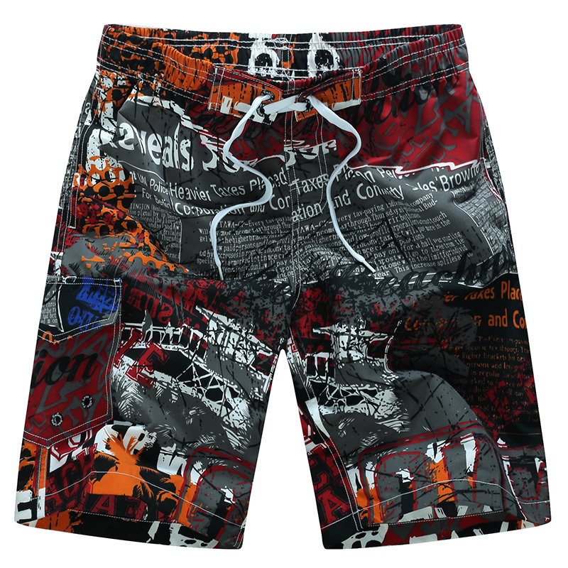 Summer Fashion Men Beach Shorts Quick Dry Coconut Tree Printed Elastic Waist With Mesh M-6XL