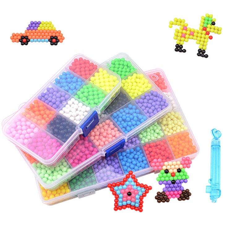 [Funny] 1000pcs/set Handmade Water Beadbond Educational Toys DIY Magic Beads Puzzle Packed Magical Water Beados Toy Girl Gift