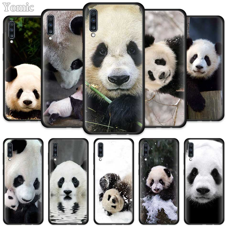 <font><b>Cute</b></font> Asian Baby Panda Bear <font><b>Cases</b></font> for <font><b>Samsung</b></font> <font><b>Galaxy</b></font> A50 A51 A40 <font><b>A70</b></font> A71 A20 A30 S A20e A80 A Quantum Black Silicone Phone Cover image