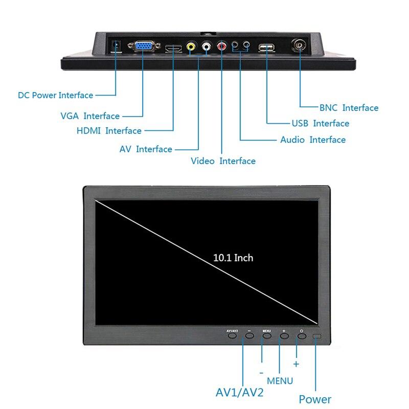 10,1 zoll 1366x768 Tragbare Monitor für PS3/PS4 XBOX360 Raspberry Pi Windows 7 8 10 System CCTV mit VGA HDMI BNC USB eingang
