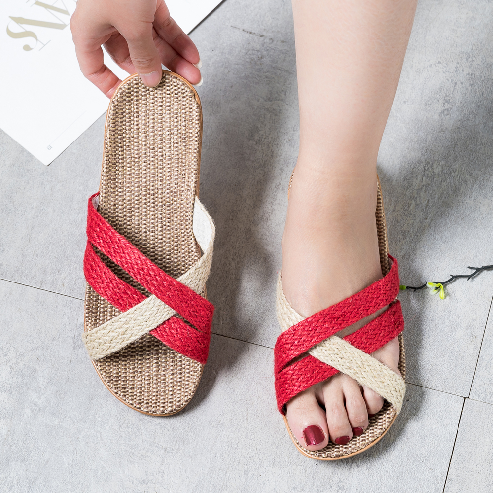 Summer Flax Slippers Women  Casual Linen Slides Multi-style Non-slip EVA Home Slippers Indoor Shoes Female Sandals