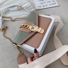 Contrast color leather hanger bags For women 2021 Travel Handbag Fashion Simple shoulder Messenger bag Ladies Cross Body bag