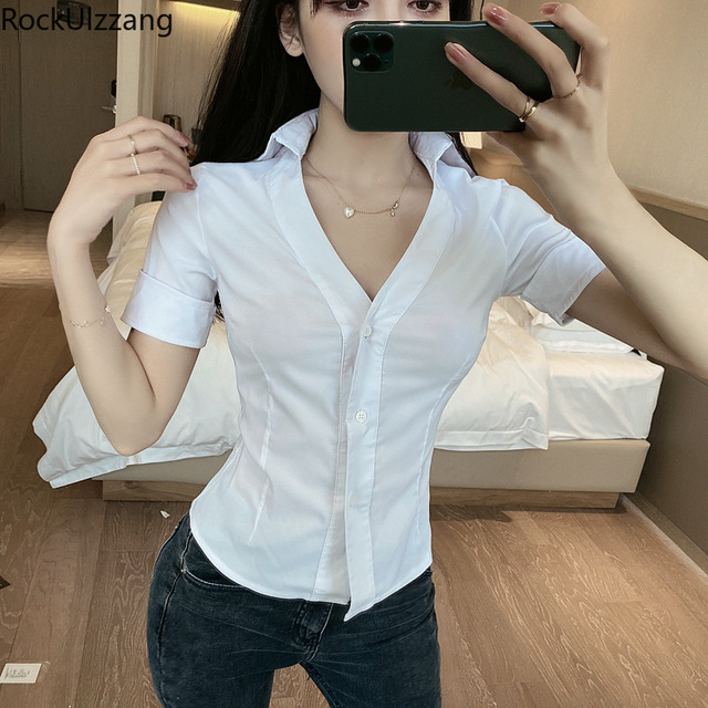 Fashion Simple Casual Solid White Turndown V-Neck Black Button Short Sleeve Elegant Office Blouse Women Plus Size Crop Top Shirt 3