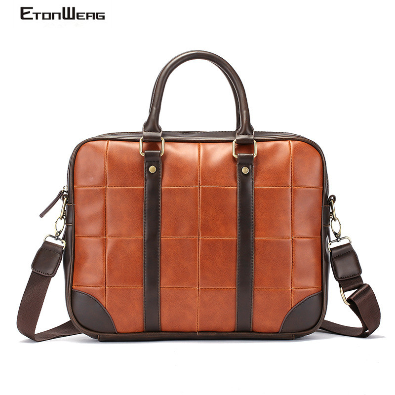 Men Diamond Lattice Briefcase Vintage PU Leather Handbag Women Business Office Laptop Bag Solid Casual Messenger Bag Large Tote