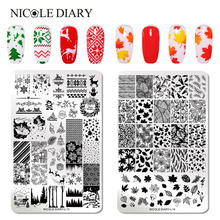 NICOLE DIARY  Christmas Stamping Plate Leaf Nail Stamping Image Plate Rose Feather Nail Art Stamp Template Stencil Nail
