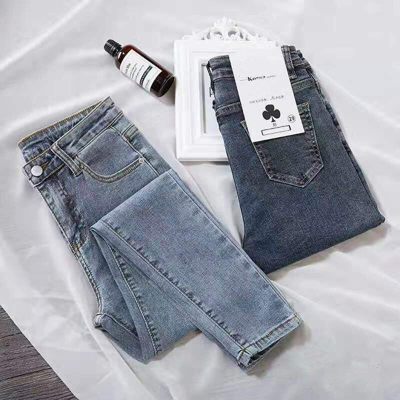 Blue Jeans Women Slim High Waist Pencil Pants Boyfriend Street Style Female Denim Jeans Skinny Fashion Solid Casual Clothing