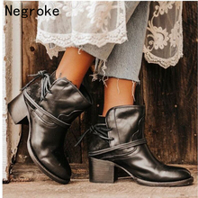 2019 New Women Boots Vintage PU Leather Shoes For Winter Boot Woman Casual Botas Mujer Female Ankle