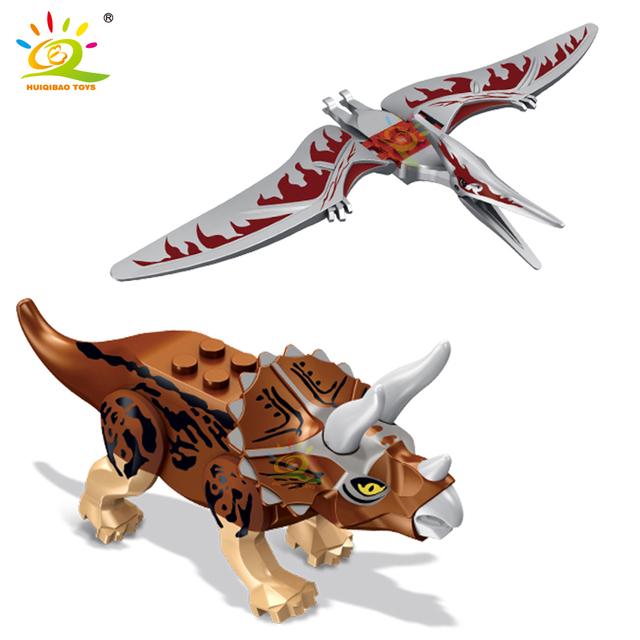 HUIQIBAO 8pcs Dinosaur Model figures Building Blocks Jurassic Raptor Tyrannosaurus Triceratops Bricks world children Toys Kids
