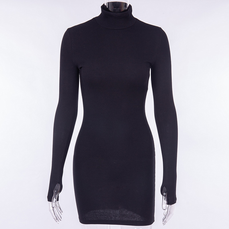 Cryptographic Ribbed turtleneck long sleeve winter dress women 19 fashion vestidos trend color slim sexy bodycon dresses 7