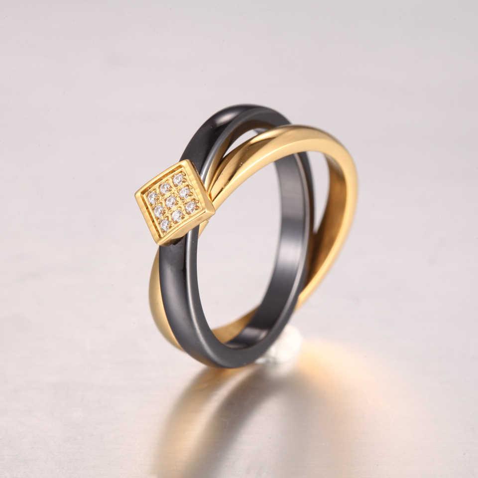 BORASI Double Cross Infinite แหวนคลาสสิกสีขาวเซรามิคแหวนทองสแตนเลสสตีลแหวนแฟชั่นเครื่องประดับ