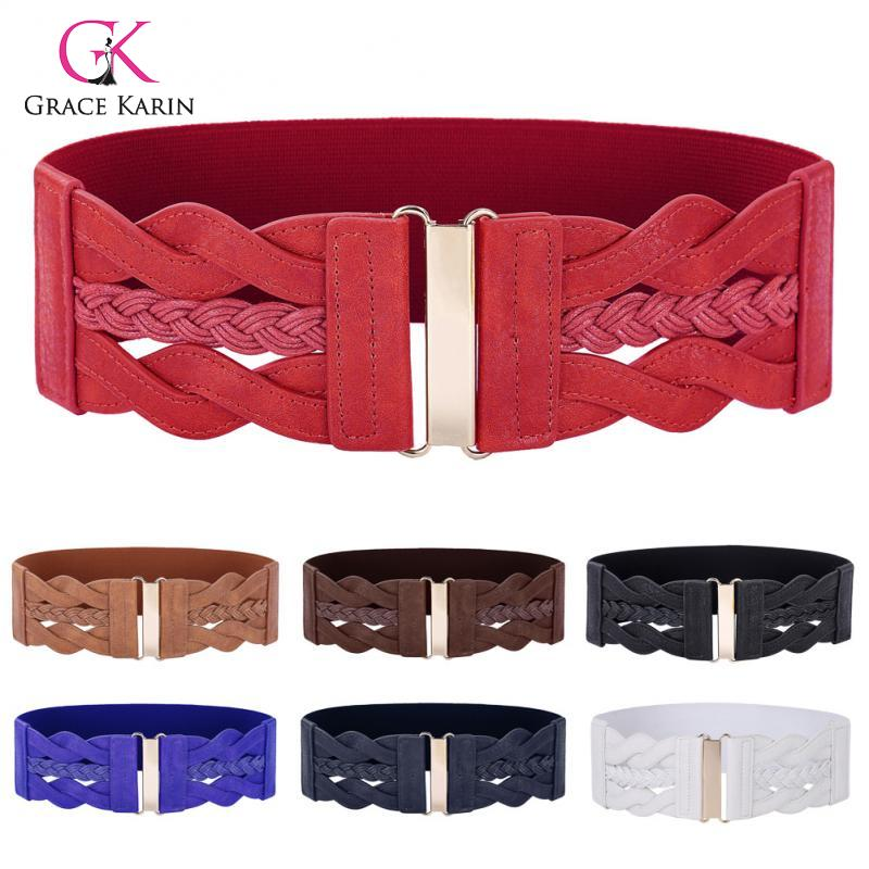Grace Karin PU Leather Elastic WaistBelt Waistband Fashion Women Waist Belt Golden Hook Buckle Belts For Formal Or Casual Wear