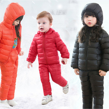 2019 Winter Children Clothing Sets 2Pcs Cotton-Padded Jacket+Pants Baby Boys Girls Warm Coat Kids Winter Pants Suits For Girls kids clothing 2017 winter boys warm clothes child cartoon padded coat trousers suits girl sportswear high quality babys jacket