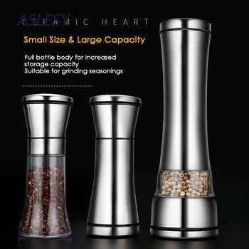 Pepper Grinder Salt Shaker Best Spice Mill with Brushed Stainless Steel Ceramic Blades Adjustable Coarseness Home Kitchen Tools