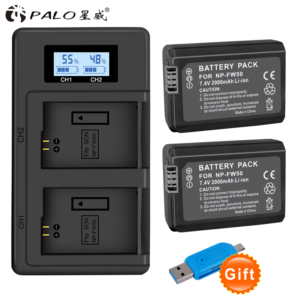 PALO <font><b>NP</b></font> <font><b>FW50</b></font> <font><b>battery</b></font> 2000mAh <font><b>NP</b></font>-<font><b>FW50</b></font> <font><b>FW50</b></font> digital camera <font><b>Battery</b></font> for <font><b>Sony</b></font> Alpha A7SM2 A5000/6000 /35/55 RX10 II III NEX-F3/3N image