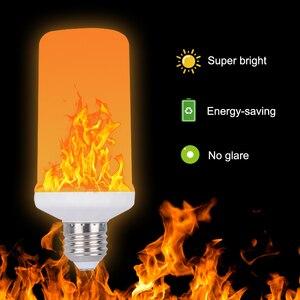 Image 4 - Modelo completo 3W 5W 7W 9W E27 E26 E14 E12 bombilla de llama 85 265V LED efecto llama bombillas de luz de fuego parpadeo emulación decorativa LED
