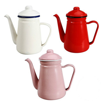 Cacerola de café esmaltada fina de 1,1 LThickened, tetera de goteo con cuello de cisne y boquilla larga, tetera de café para el hogar, herramienta de té esmaltado