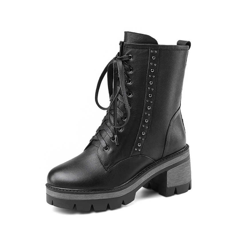 Mode dikke bodem ronde neus Martins laarzen dot decoratieve platform zwarte klassieke vrouwen schoenen echt leer motorfiets boot