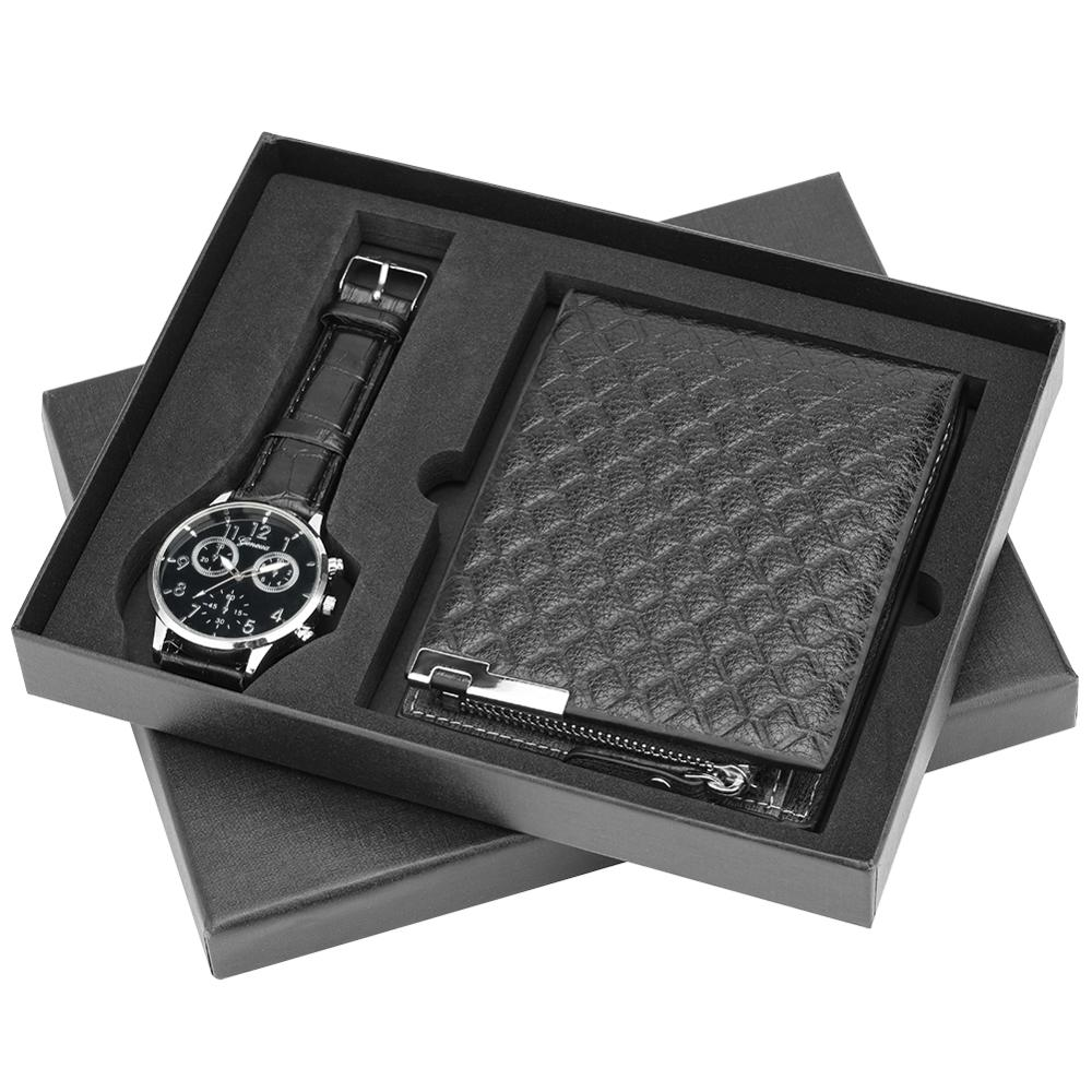 Men's Quartz Watches Men Wallet Leather Strap Wristwatch Luminous-hands Dial Wristwatch Gift Set For Boyfriend Dad Husband