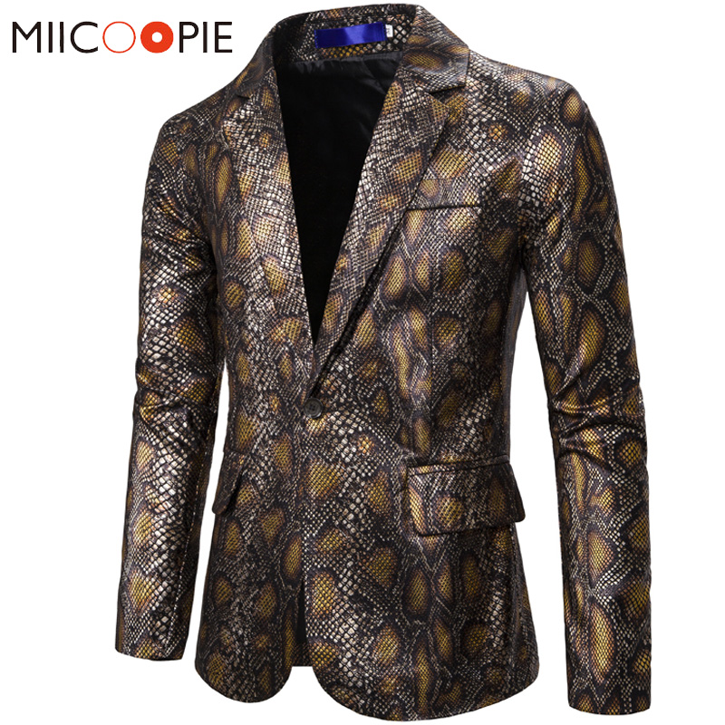 Gold Bronzing Blazers Men Suits New Arrival Luxury 3D Snakeskin Print Designer Jacket Blazer Homme Men Stage Performance Jackets