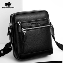 BISON DENIM Classic Black Male Bag Genuine Leather Business Crossbody Bag iPad Mens Messenger Bag Casual bolsas male N2845