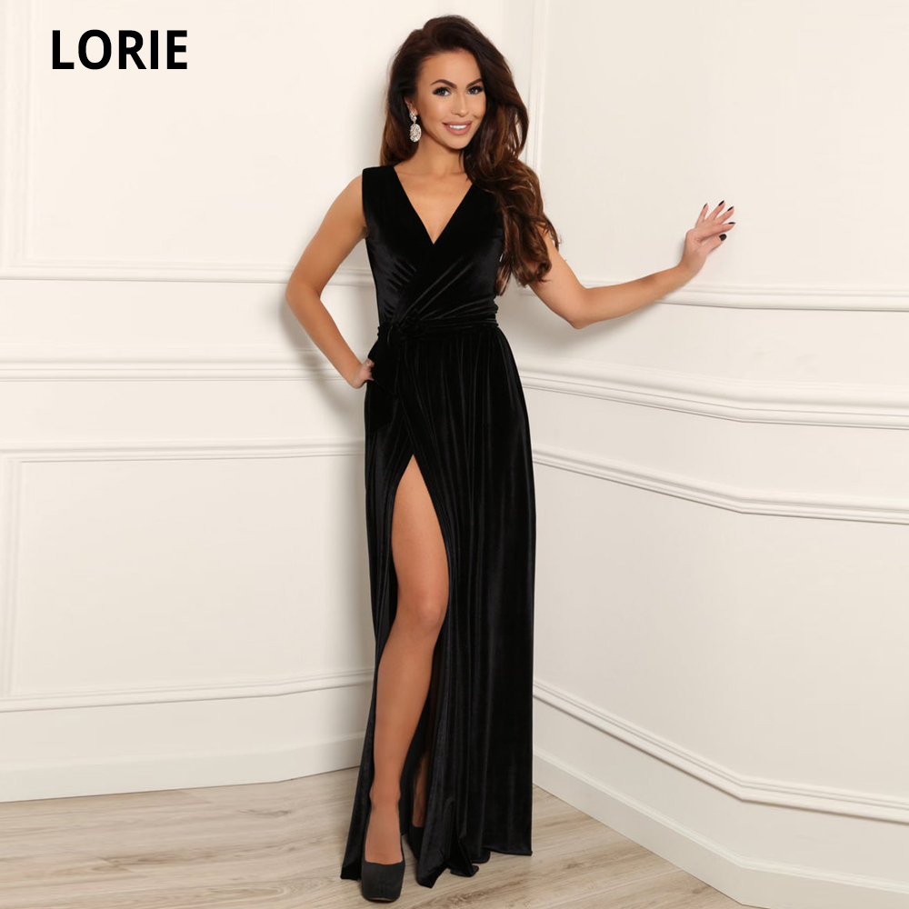 LORIE Black Velvet Maxi Dress Evening Party Wrap Neck Dress/ Sleeveless High Wrap Slit Waistband Sash Formal Prom Gown Plus Size