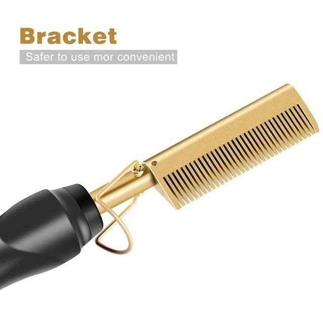 Hot Straightening Heat Pressing Comb Ceramic Curling Flat Iron Curler Designed Hair Straightener for Natural Black Hair Wigs 5