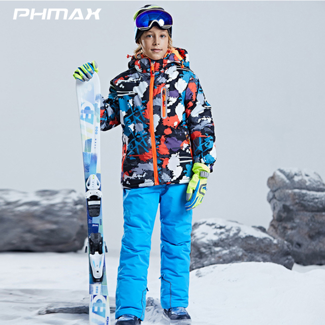 PHMAX Children's Ski Suit Boy Girl Outdoor Sports Snowboard Jacket Set Kids Breathable Windproof Snow Running Skiing Equipment