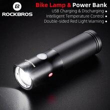 ROCKBROS велосипедный светильник светодиодный Водонепроницаемый USB Перезаряжаемые велосипед светильник сбоку Предупреждение 700 люмен вспышки светильник Мощность банк 2000 мАч 5 режимов
