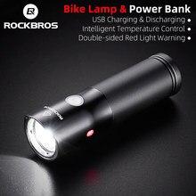 ROCKBROS bicicleta de luz Led a prueba de agua Luz de bicicleta recargable con USB lado advertencia 700 lúmenes linterna banco de potencia 2000mAh 5 modos