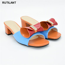 New Arrival Summer Mid Heeled Shoes for Women Ladies Sandals with Heels Slip on Shoes for Women Elegant Party Pumps African Shoe