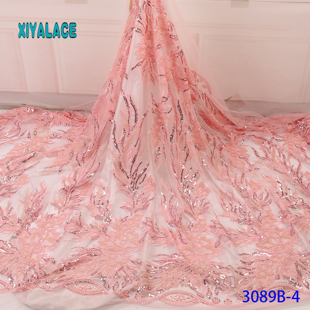 Pink Lace Fabric 2019 High Quality Lace Nigerian Lace Fabric For Women Dress African Tulle Lace With Stones 5yards YA3089B-4