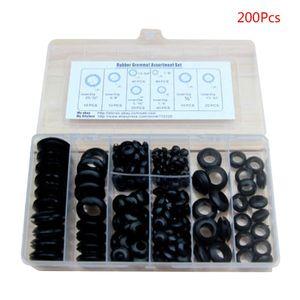 200 sztuk/pudło gumowa przelotka zestawy uszczelek do kabla drutowego czarny zestaw 72XD