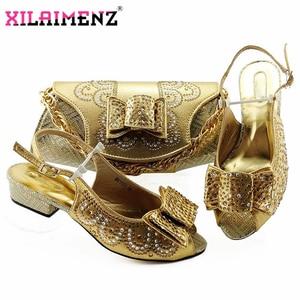 Image 5 - 赤高品質アフリカの女性サンダルの靴財布セットイタリアエレガントなハイヒールの靴とバッグセット結婚式のためパーティー