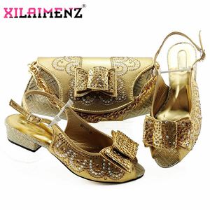 Image 5 - Red High Quality African Woman Sandals Shoes With Purse Set Italian Elegant High Heels Shoes And Bag Set For Wedding Party