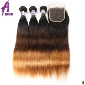 Image 2 - Alimice ハイライトヘア T1B/4/30 オンブルストレートヘアの束でペルー人毛閉鎖とバンドルを編む 3 トーン
